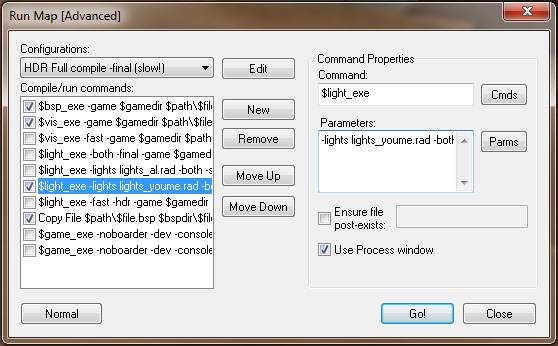 Expert mode compile options